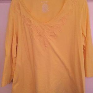 Yellow 3/4 length sleeve St. John's Bay shirt, 2X